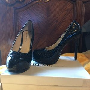 Black Leather Crocco Leather Laurie Shoes